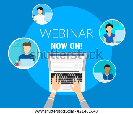 Webinar now on concept illustration of human hands typing on the laptop to unit various people on the free webinar. Flat design of faceless guys and young women participating in free conference - stock vector