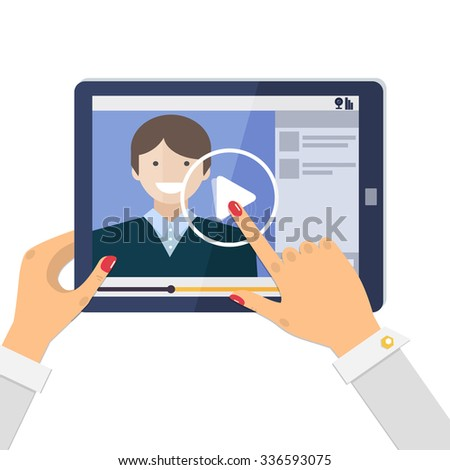 Webinar, online conference, e-learning.  Video player - online education on tablet computer. Vector illustration in flat style. - stock vector