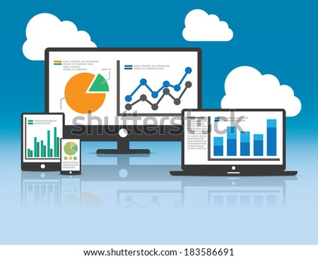 Website analytics and SEO data analysis concept. EPS10 file