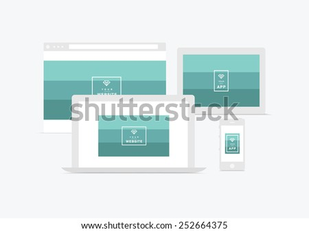 website and app presentation  devices - stock vector