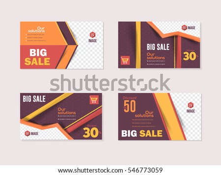 Website Banner, Horizontal Frames Web Layout Ad, Cover Illustration. Image Add Business Advertisement Design Collection with Vector Creative Geometric Elements. Multicolored Flat Banners Set