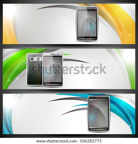 Website banner or header with colorful abstract design and smart mobile phones . EPS 10. - stock vector