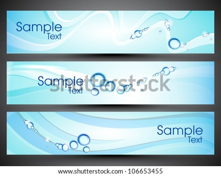 Website banner or header with water drops. EPS 10. - stock vector