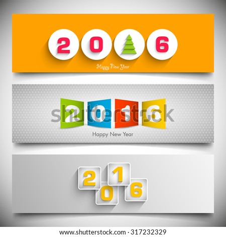 Website banner set of happy new year,2016.