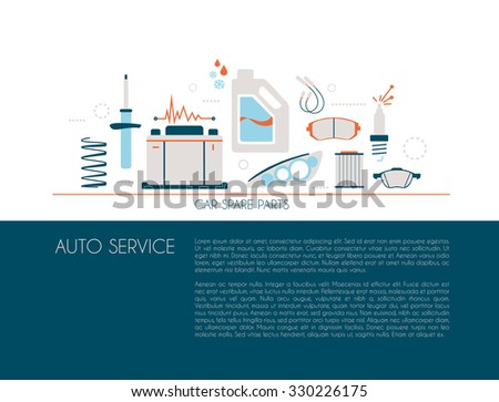 Website, brochure, flyer template with car spare parts - stock vector