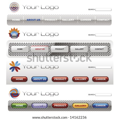 Website button bars set template - stock vector