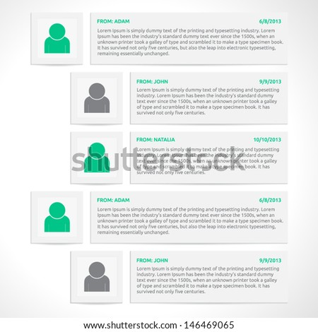 Website comments template | vector design | discussion | web elements | color gray silver white and green | icons and shadows