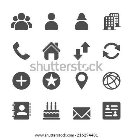 website contact icon set, vector eps10. - stock vector