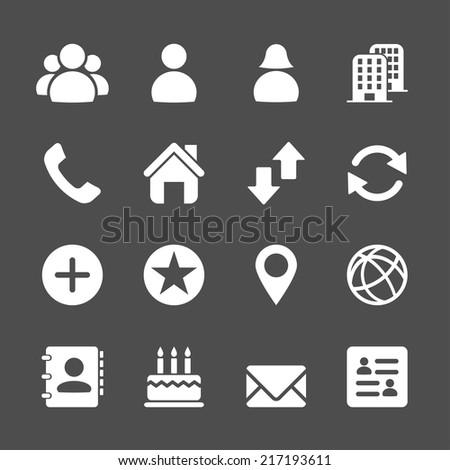 website contact icon set, vector eps10. - stock vector