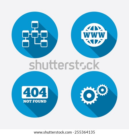 Website database icon. Internet globe and gear signs. 404 page not found symbol. Under construction. Circle concept web buttons. Vector - stock vector