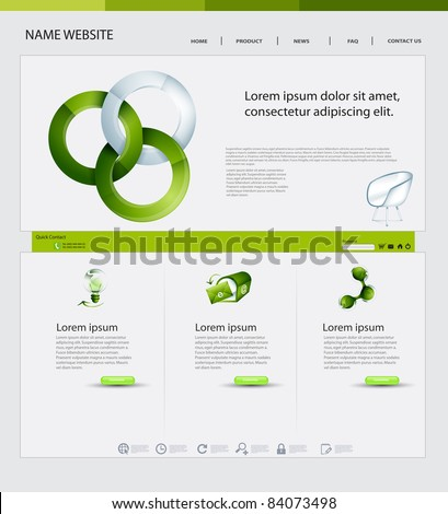 Website Design, Ecological Theme - stock vector