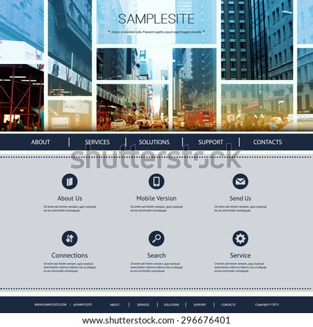 Website Design for Your Business - One Street of New York City Image in Header Design - stock vector