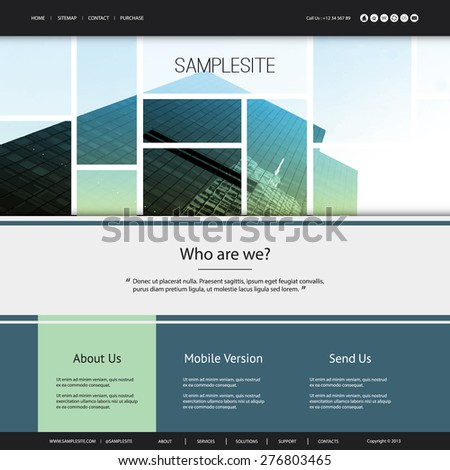 Website Design for Your Business with Green and Blue Header Design - stock vector