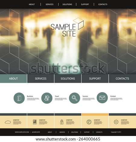 Website Design for Your Business with Metro Station Photo Background and Linear Icons - stock vector