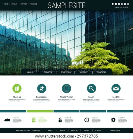 Website Design for Your Business with Skyscraper Windows and a Tree Image Background - stock vector