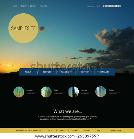 Website Design for Your Business with Sunset Photo Background - stock vector