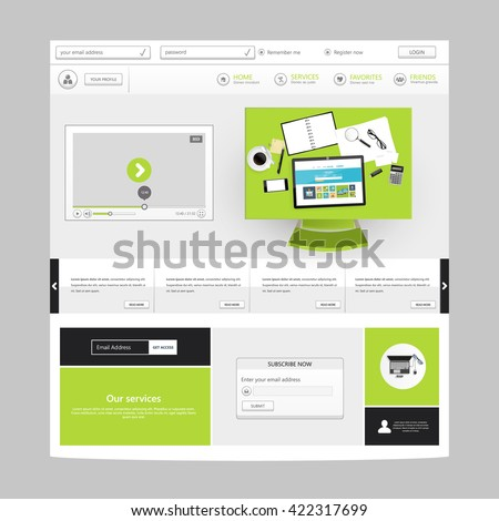 Website Design for Your Business with top view workplace realistic vector illustration. - stock vector