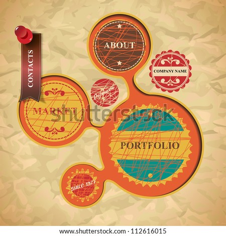 Website design in vintage style - stock vector