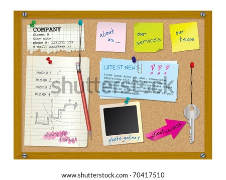 Website design template - cork board with notes - vector illustration - stock vector