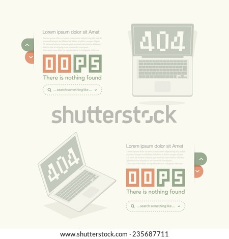 Website design template element: Page not found, 404 error - stock vector
