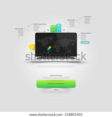 Website design template elements: Mock-up Vcard template with notebook and icons set - stock vector
