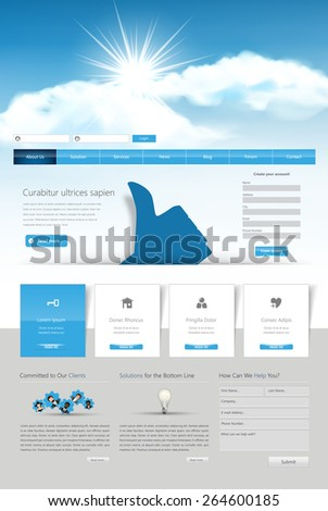 Website Design Template for Your Business, Vector Eps 10 - stock vector