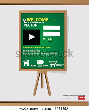 Website Design Template on blackboard background,Vector - stock vector