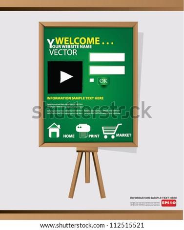 Website Design Template on blackboard background,Vector - stock vector