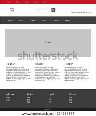 Website Design Template Simple Landing Page Stock Vector - Simple landing page template