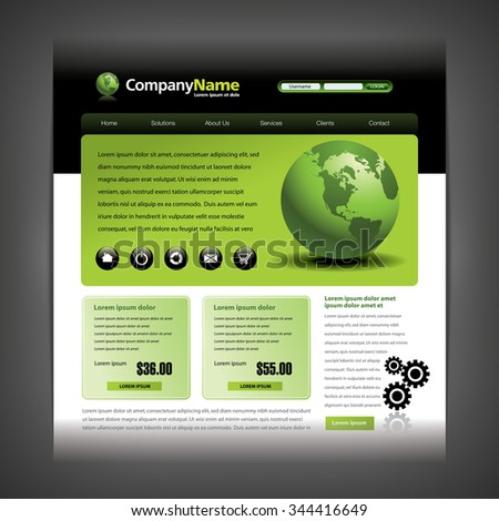 Website design template with globe and gears - stock vector