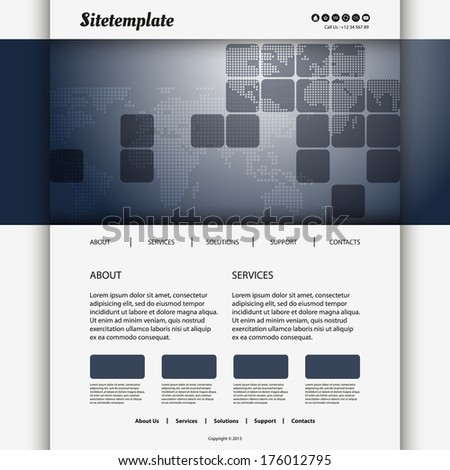 Website Design with Squares and Dotted Map - stock vector