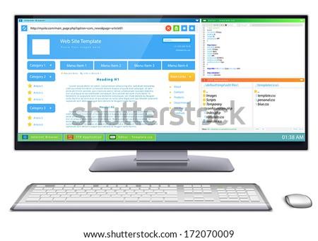 Website development: Work flow of website template development on wide screen computer monitor.  - stock vector
