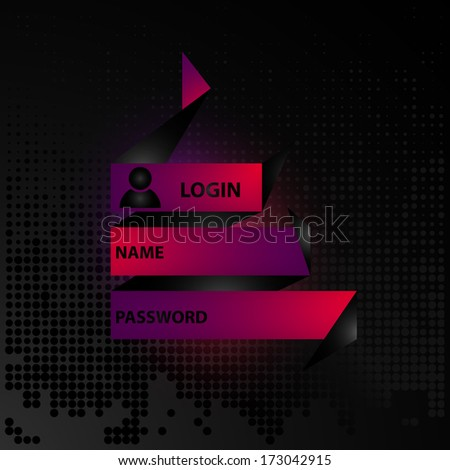 Website element login with name and password, login icon, decorative frame, stock vector - stock vector