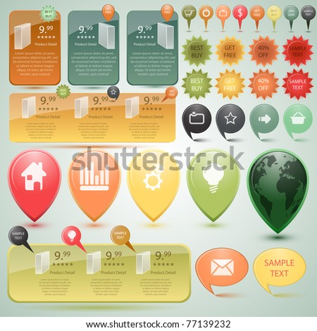 Website Elements, vector - stock vector