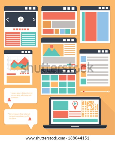 Website Flowcharts and Site Maps,colorful version - stock vector