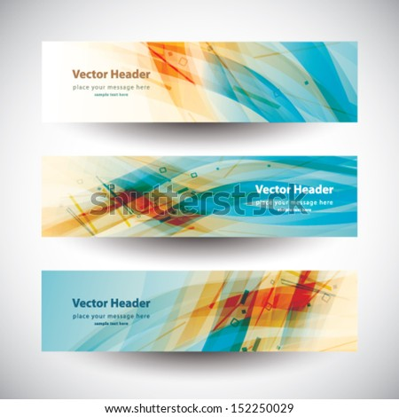 Header colorful abstract banner set vector design stock vector