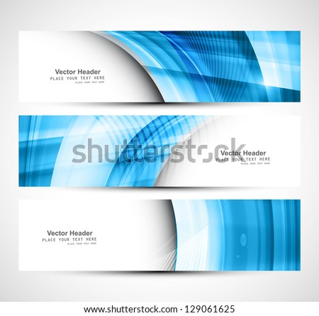 Website header colorful blue wave banner set vector design - stock vector
