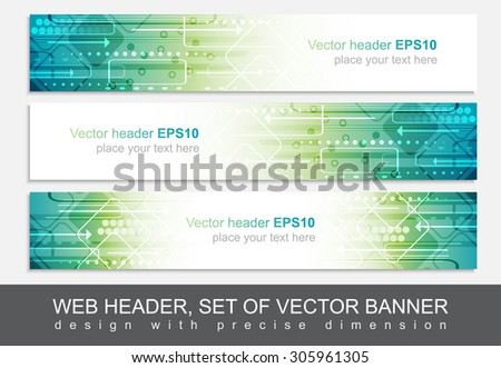 Website header or banner isolated, vector abstract design template with technological pattern. - stock vector