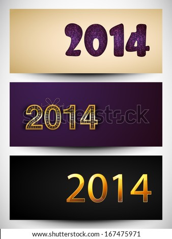 Website header or banner set design for Happy New Year 2014 celebration with stylish text.