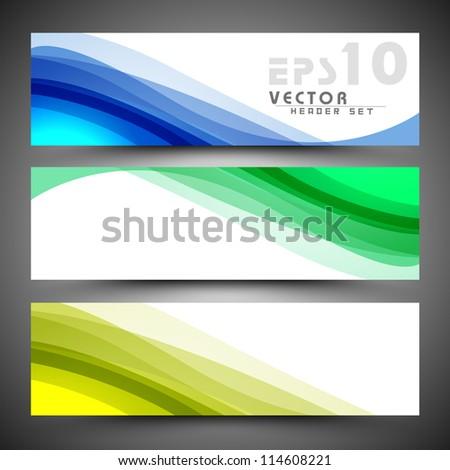 Website header or banner set. EPS 10. - stock vector