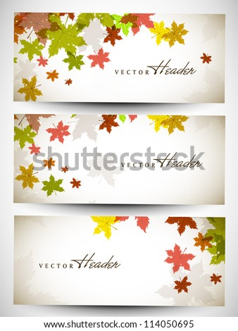 Website header or banner set with autumn leafs design. EPS 10. - stock vector