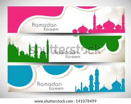 Website header or banner set with view of mosque on waves background for Ramadan Kareem, - stock vector