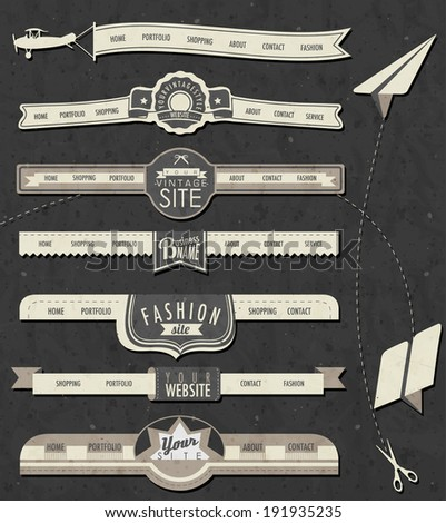 Website headers and navigation elements in vintage style. Retro web design and paper airplanes. - stock vector