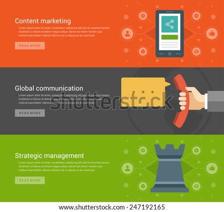 Website Headers or Promotion Banners Templates and Flat Icons Design. Content marketing smart phone, Global communication telephone, Business strategic management chess. Vector Illustration.  - stock vector