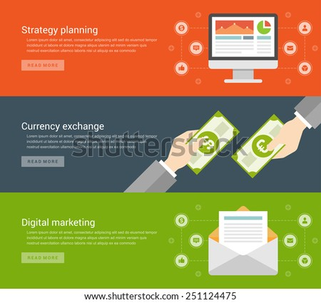 Website Headers or Promotion Banners Templates and Flat Icons Strategy planning computer screen, Currency exchange hands hold money, Digital marketing E-mail envelope. Vector Illustration.  - stock vector