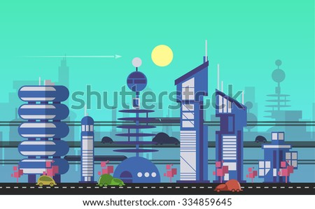 Website hero image in flat design style for web development purposes. Busy urban cityscape template with modern buildings, roads, futuristic traffic and park trees. - stock vector