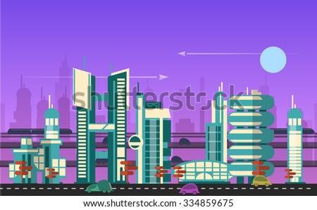 Website hero image in flat design style for web development purposes. Busy urban cityscape template with modern buildings, roads, futuristic traffic and park trees.
