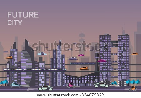 Website hero images in flat design style for web development purposes. Busy urban cityscape templates with modern buildings, roads, futuristic traffic and park trees. - stock vector