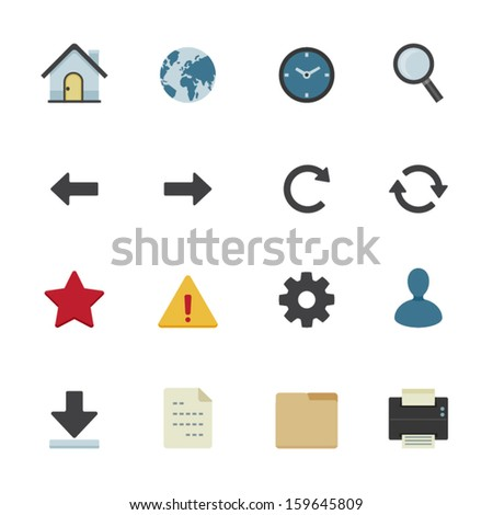 Website Icons and Toolbar Icons with White Background