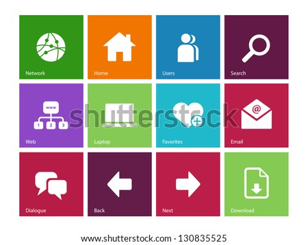 Website icons on color background. Vector illustration. - stock vector